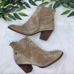 Paul Green Tan Suede Block Heel Ankle Boot 9.5